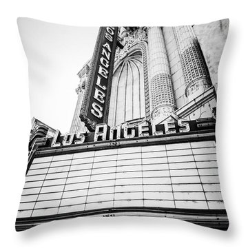 Los Angeles Theatre Sign In Black And White Throw Pillow by Paul Velgos