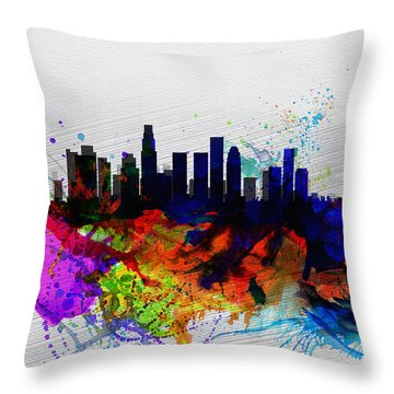 Los Angeles  Watercolor Skyline 2 Throw Pillow by Naxart Studio