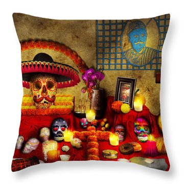Los Dios Muertos - Rembering Loved Ones Throw Pillow by Mike Savad