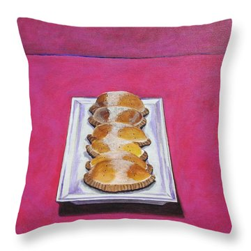 Las Empanadas Throw Pillow by Manny Chapa