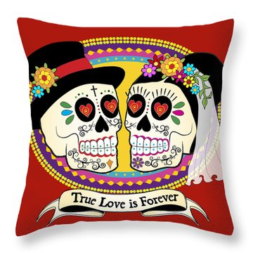 Los Novios Sugar Skulls Throw Pillow
