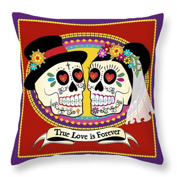Los Novios Sugar Skulls Throw Pillow by Tammy Wetzel