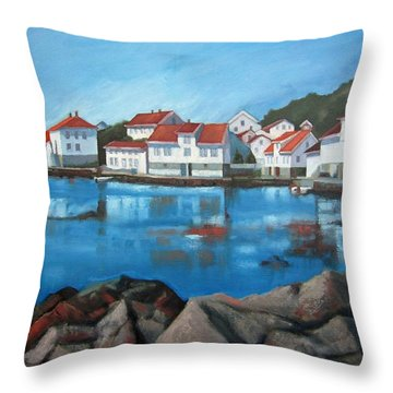 Throw Pillow featuring the painting Loshavn by Janet King