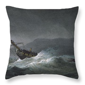 Loss Of The Blanche Throw Pillow by Thomas Whitcombe