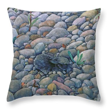 Lost And Found Rabbit Throw Pillow