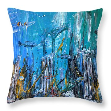 Throw Pillow featuring the painting Lost City by Arturas Slapsys