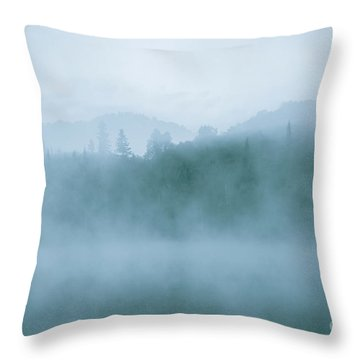 Lost In Fog Over Lake Throw Pillow by Jola Martysz
