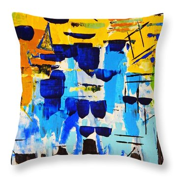 Throw Pillow featuring the painting Lost In The Crowd by Everette McMahan jr