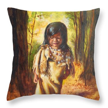 Throw Pillow featuring the painting Lost In The Woods by Karen Kennedy Chatham