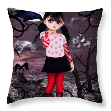 Lost Little Girl Throw Pillow