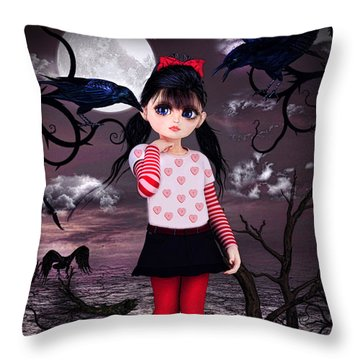 Lost Little Girl Throw Pillow