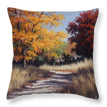Throw Pillow featuring the painting Lost Maples Trail by Kyle Wood