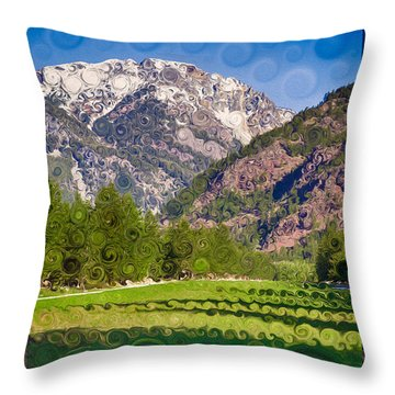 Lost River Airport Runway Abstract Landscape Painting Throw Pillow