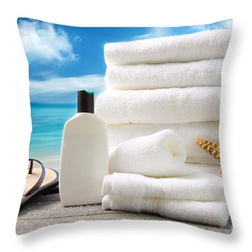 Lotion  Towels And Sandals With Ocean Scene Throw Pillow