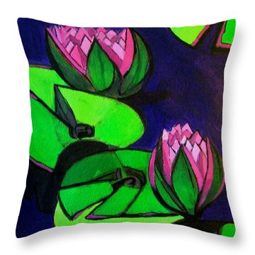 Lotus 2 Botanical Flowers Throw Pillow