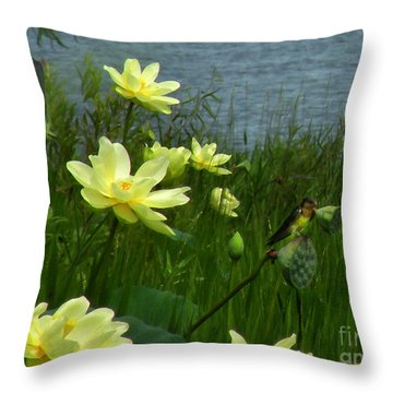 Throw Pillow featuring the photograph Lotus And Swallows by Deborah Smith