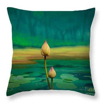Lotus Buds Throw Pillow by Bedros Awak