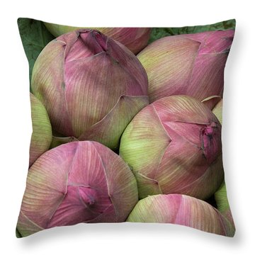 Lotus Buds Throw Pillow