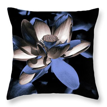 Lotus By Night Throw Pillow