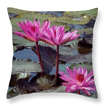 Lotus Flower Throw Pillow by Sergey Lukashin