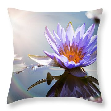 Lotus Flower With Sun Flare Throw Pillow