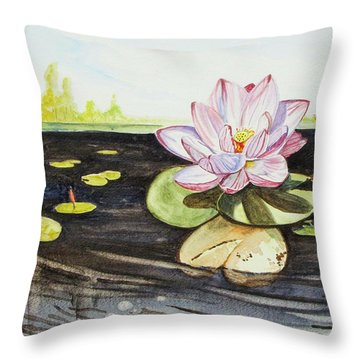 Throw Pillow featuring the painting Lotus Fun by Kevin F Heuman