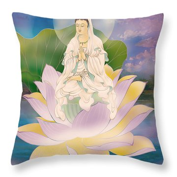 Lotus-sitting Avalokitesvara  Throw Pillow