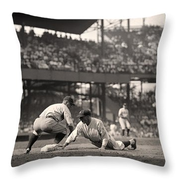 Lou Gehrig Playing First Base Throw Pillow
