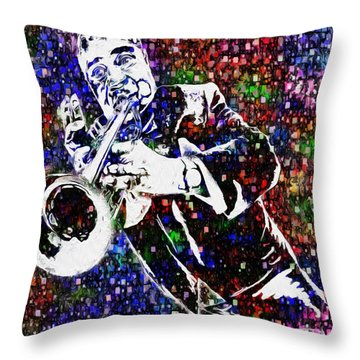 Louie Armstrong Throw Pillow by Jack Zulli