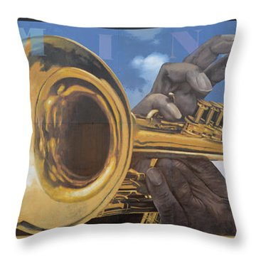 Louis Armstrong Throw Pillow by Bob Christopher