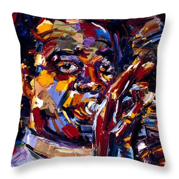 Louis Armstrong Throw Pillow by Debra Hurd