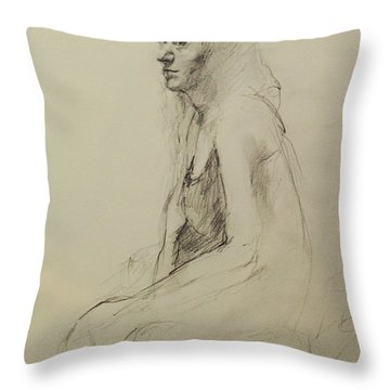 Throw Pillow featuring the drawing Louisa by Becky Kim