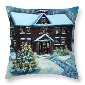 Throw Pillow featuring the painting Louisa May Alcott's Christmas by Rita Brown