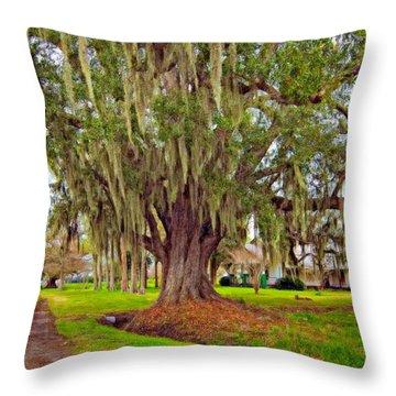 Louisiana Country Oil Throw Pillow by Steve Harrington