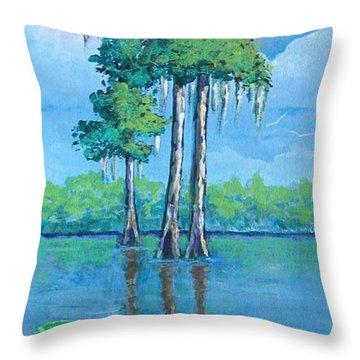Louisiana Cypress Throw Pillow by Suzanne Theis