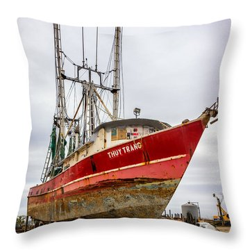 Louisiana Shrimp Boat 2 Throw Pillow by Steve Harrington