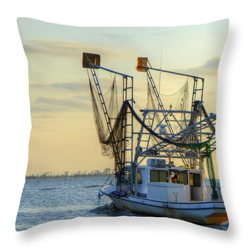 Louisiana Shrimping Throw Pillow