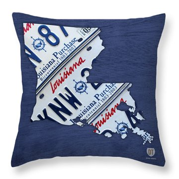 Louisiana State License Plate Map Throw Pillow By Design Turnpike