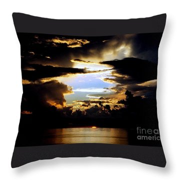 Louisiana Sunset Blue In The Gulf  Of Mexico Throw Pillow by Michael Hoard