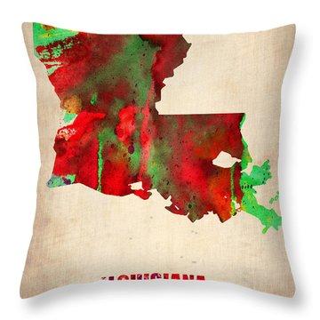 Louisiana Watercolor Map Throw Pillow by Naxart Studio