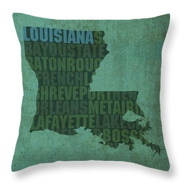 Louisiana Word Art State Map On Canvas Throw Pillow