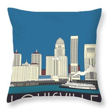 Louisville Art Deco Skyline Throw Pillow by Josef Spalenka
