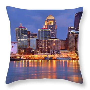 Louisville Skyline At Dusk Sunset Panorama Kentucky Throw Pillow by Jon Holiday