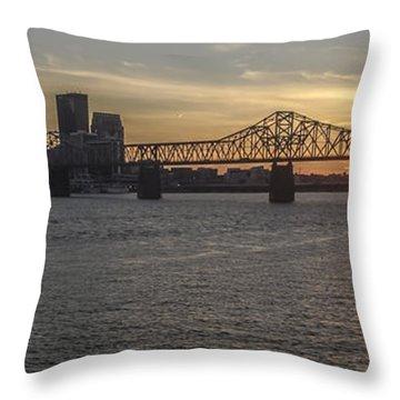 Louisville Skyline At Sunset Throw Pillow