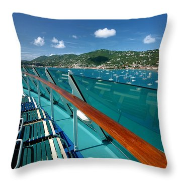 Lounge Chairs On Cruise Ship Throw Pillow by Amy Cicconi