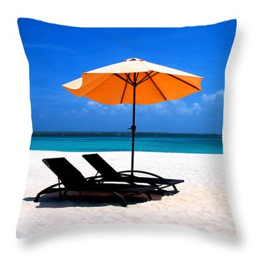 Throw Pillow featuring the photograph Lounging By The Sea by Joey Agbayani