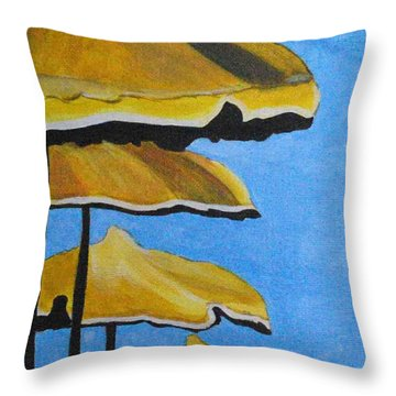 Lounging Under The Umbrellas On A Bright Sunny Day Throw Pillow