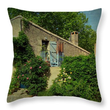 Lourmarin Cottage Throw Pillow by Carla Parris