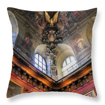 Throw Pillow featuring the photograph Louvre Ceiling by Glenn DiPaola