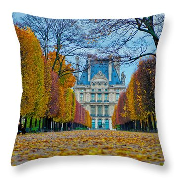 Louvre In Fall Throw Pillow